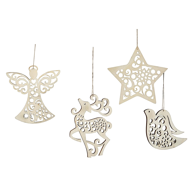 Enesco Flourish Hanging Ornament, 3-Inch, Set of 4
