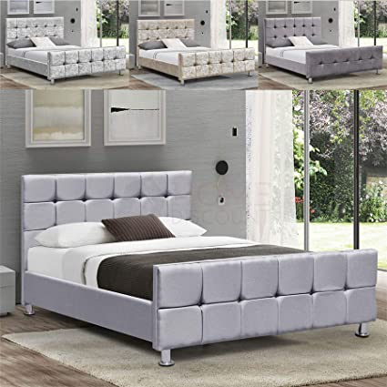 official photos d3e25 7e60a Home Valentina Double Bed, 4ft6 Bed Frame Upholstered Fabric ...