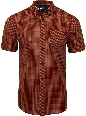 Ben Sherman - Camisa de cuadros de manga corta para hombre Rojo Canela M: Amazon.es: Ropa y accesorios
