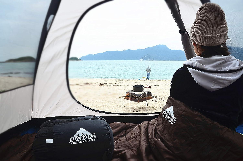 adultos impermeable senderismo ligero para 2 personas mochileros y al aire libre Mcota Saco de dormir doble 3 estaciones saco de dormir para camping se convierte en 2 individuales