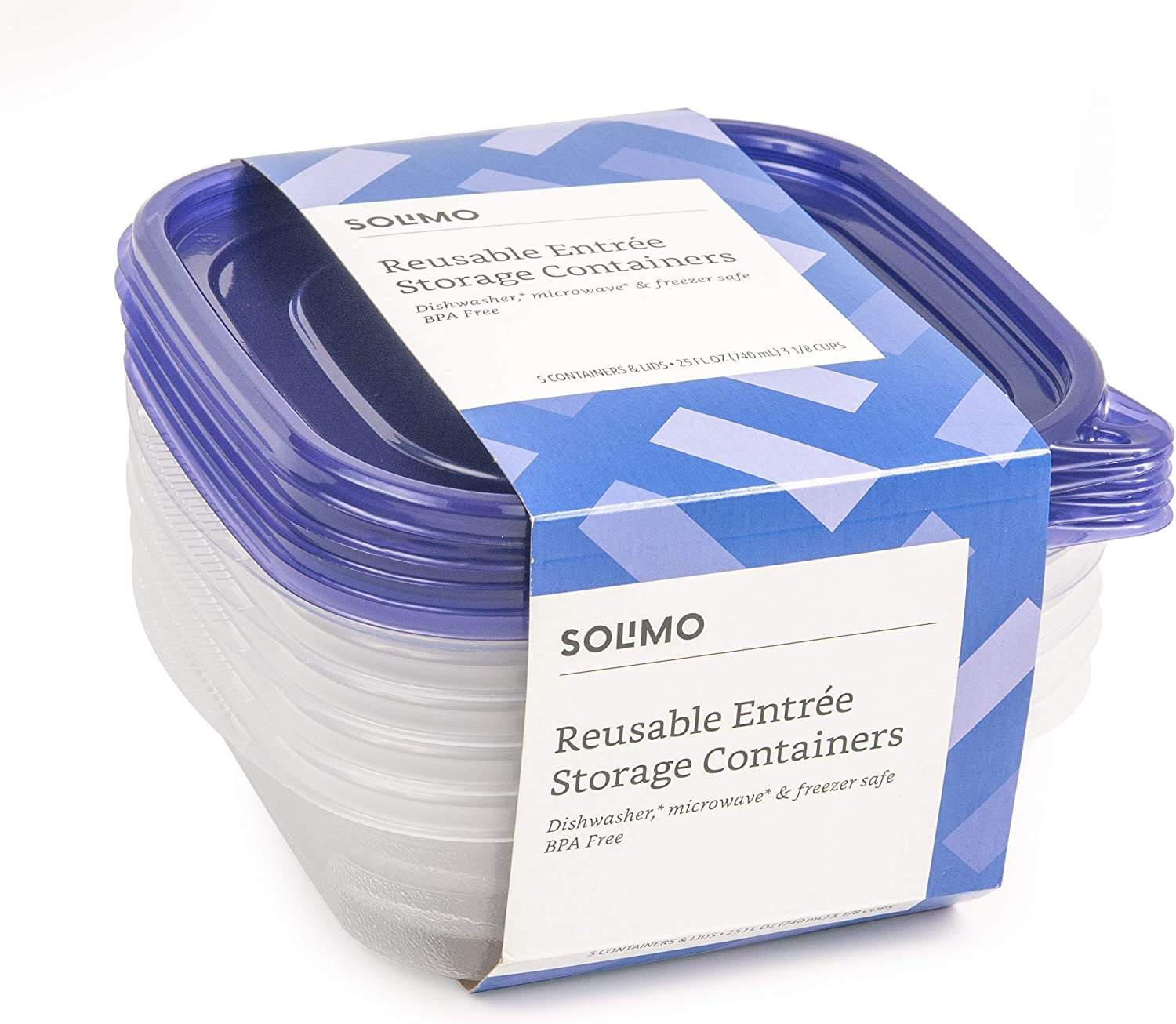 Amazon Brand - Solimo Plastic Food Storage Containers with Lids (30 Pack) - BPA-Free, Safe for Dishwasher, Microwave, Freezer - Entrée 25 oz.