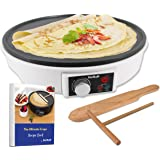"""12"""" Electric Crepe Maker by StarBlue with FREE Recipes e-book and Wooden Spatula - Nonstick and Portable Pan, Compact, Easy C"""
