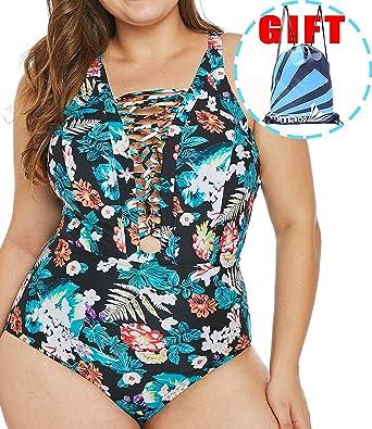 b096a8a9a1fe Garlagy Women's One Piece Swimsuits Plus Size Monokinis Swimwear Athletic  Tankini Bathing Suit Bikini Valentine (