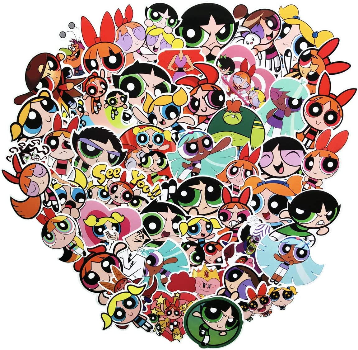50pcs The Powerpuff Girls Cartoon Sticker Laptop Vinyl Stickers for Waterbottle,Snowboard,Luggage,Motorcycle,Wall,DIY Party Supplie Patches Decal Powerpuff Girls 50