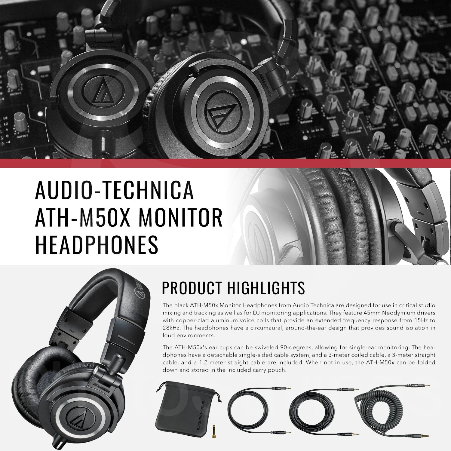 Audio Technica Ath M50x Professional Monitor Headphones M40x Monitoring Headphone And Deluxe Accessory Bundle With Amplifier Protective Case More Musical