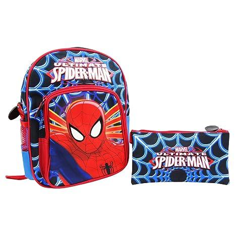 79ca167d84 DC Comics Spiderman Set Zaino Asilo + Astuccio Bustina per Bambini Tempo  Libero