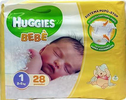 HUGGIES Pañales Elásticos, Talla 1 de 2 a 5 Kg 28 Unidades