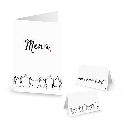 Corazón Personas Juego para la boda de: 10 tarjetas de menú + 25 tarjetas de mesa ...