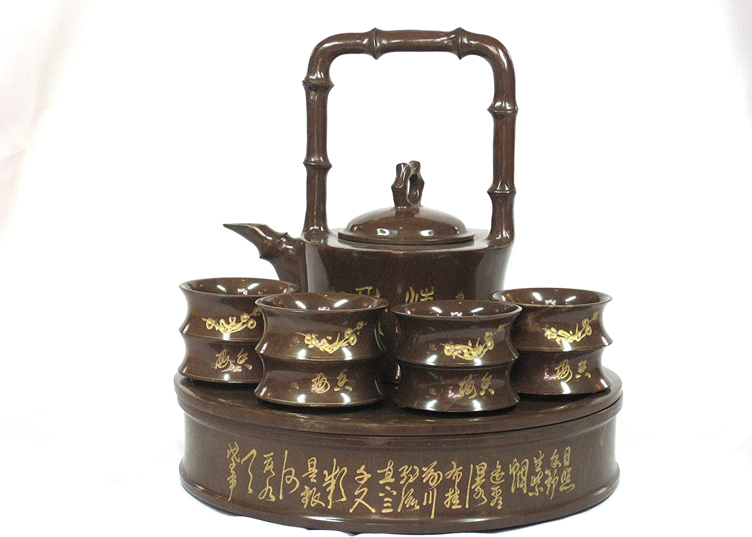 China/'s rare handmade old copper five children playing the teapot