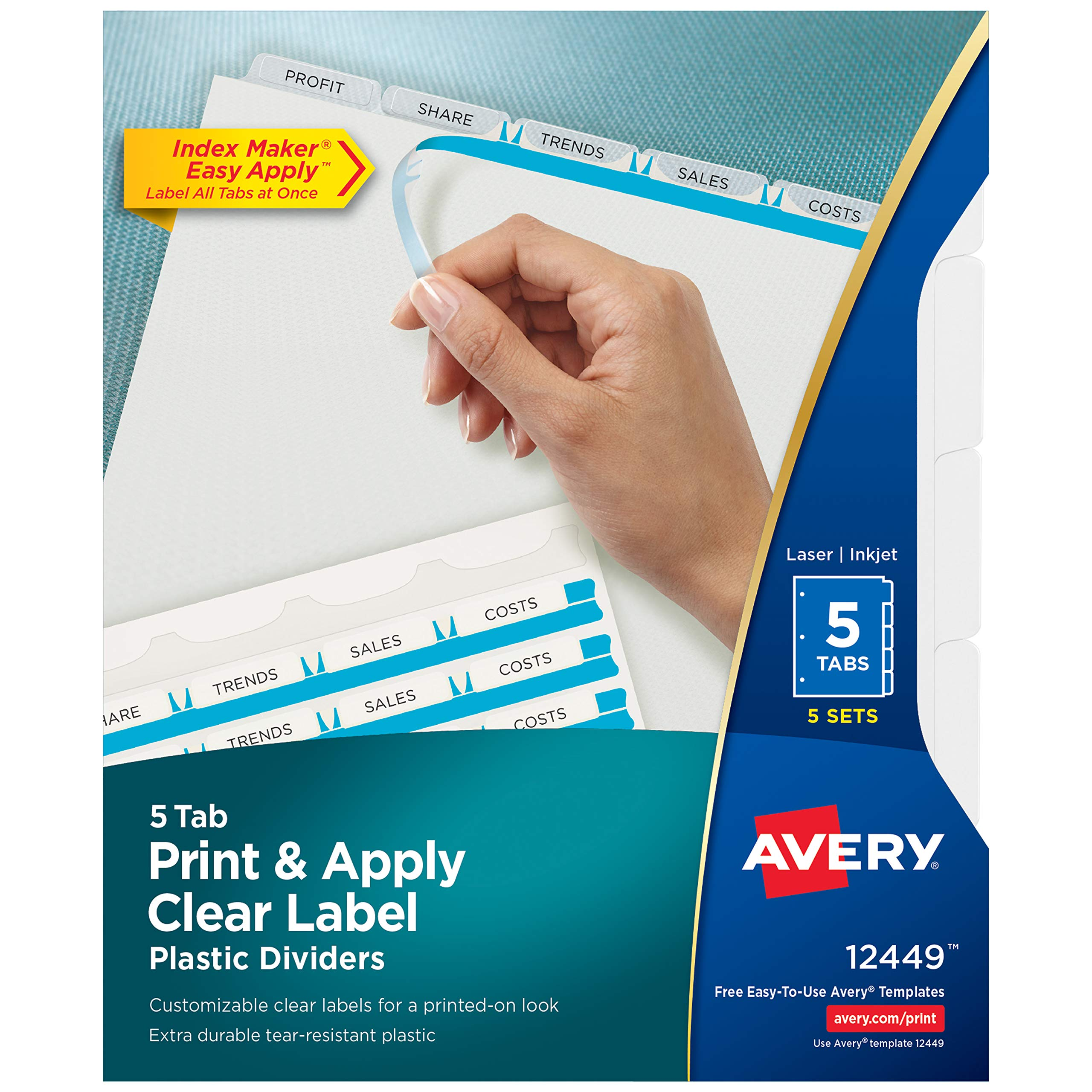 Avery 5-Tab Plastic Dividers, Easy Print & Apply Clear Label Strip, Index Maker, 5 Sets (12449) by AVERY