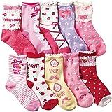 (コナミヤ) Konamiya ガールズ 靴下 クルー丈ソックス 10足セット 女の子 カラフルソックス