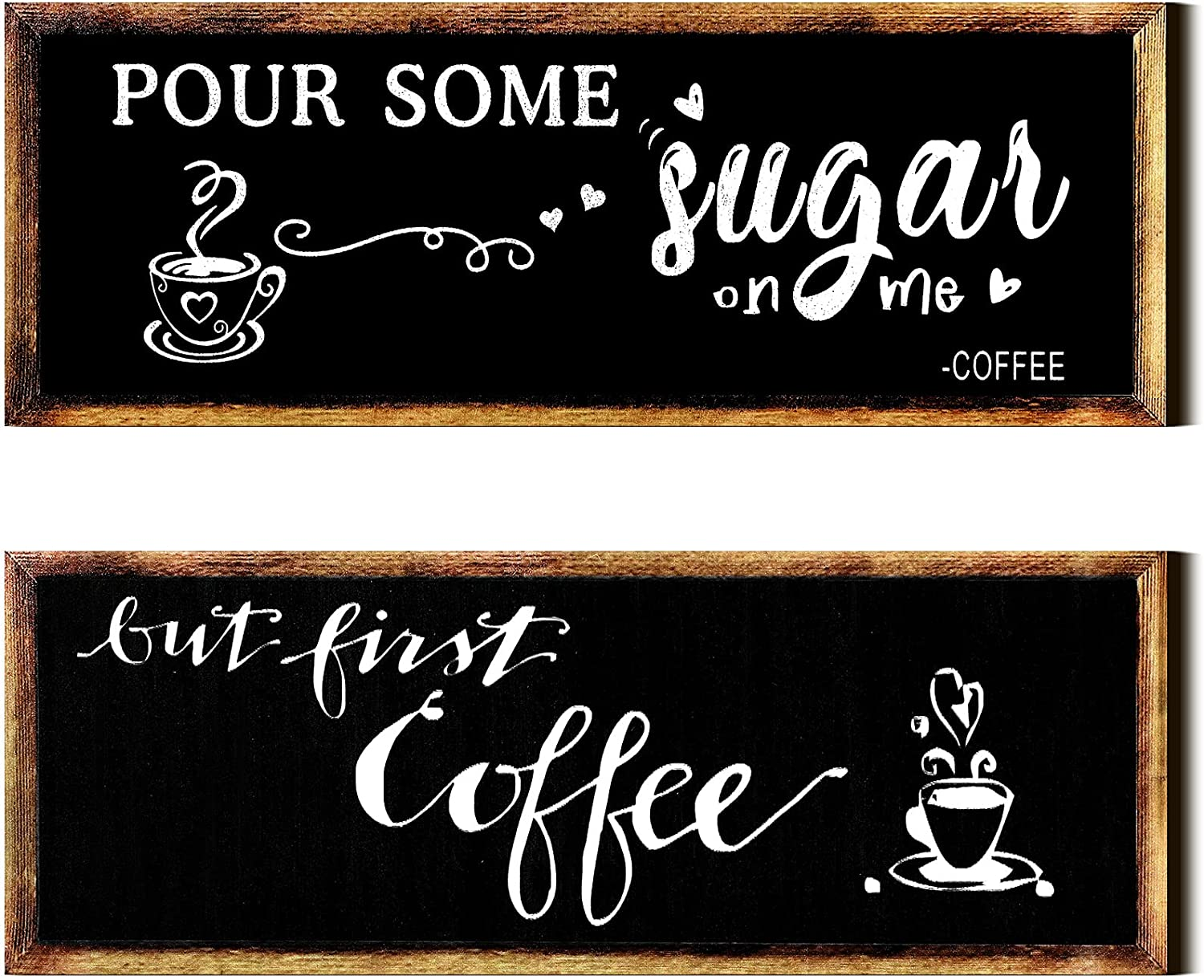 2 Pieces Farmhouse Coffee Signs Pour Some Sugar on Me - Coffee Sign and But First Coffee Wood Wall Sign Coffee Bar Decor for Office Home Wall Table Decor, 4.7 x 13.8 Inch (Black)