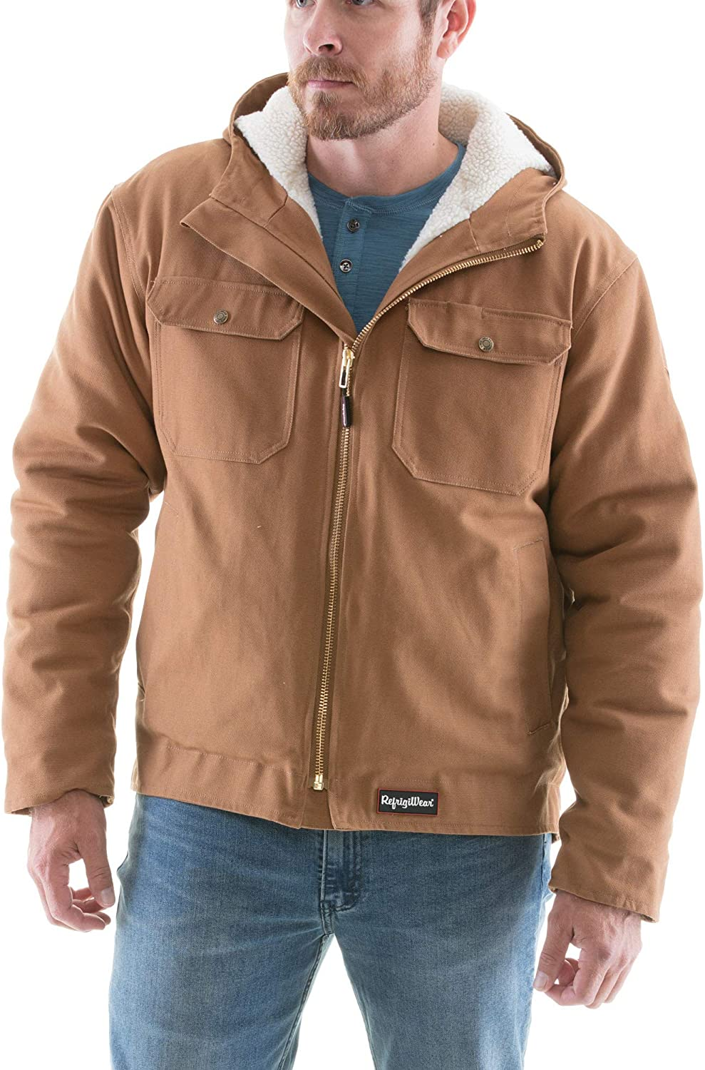 RefrigiWear Mens Sherpa Lined Insulated Arctic Duck Workwear Jacket with Hood