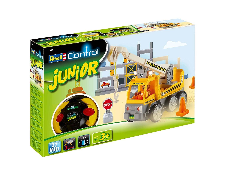 Revell Control Junior RC Car Kranwagen - ferngesteuertes Baufahrzeug mit 27 MHz Fernsteuerung, kindgerechte Gestaltung, ab 3, zum Bauen und Spielen, mit Spielfigur, LED-Blinklichtern - 23002 Revell_23002