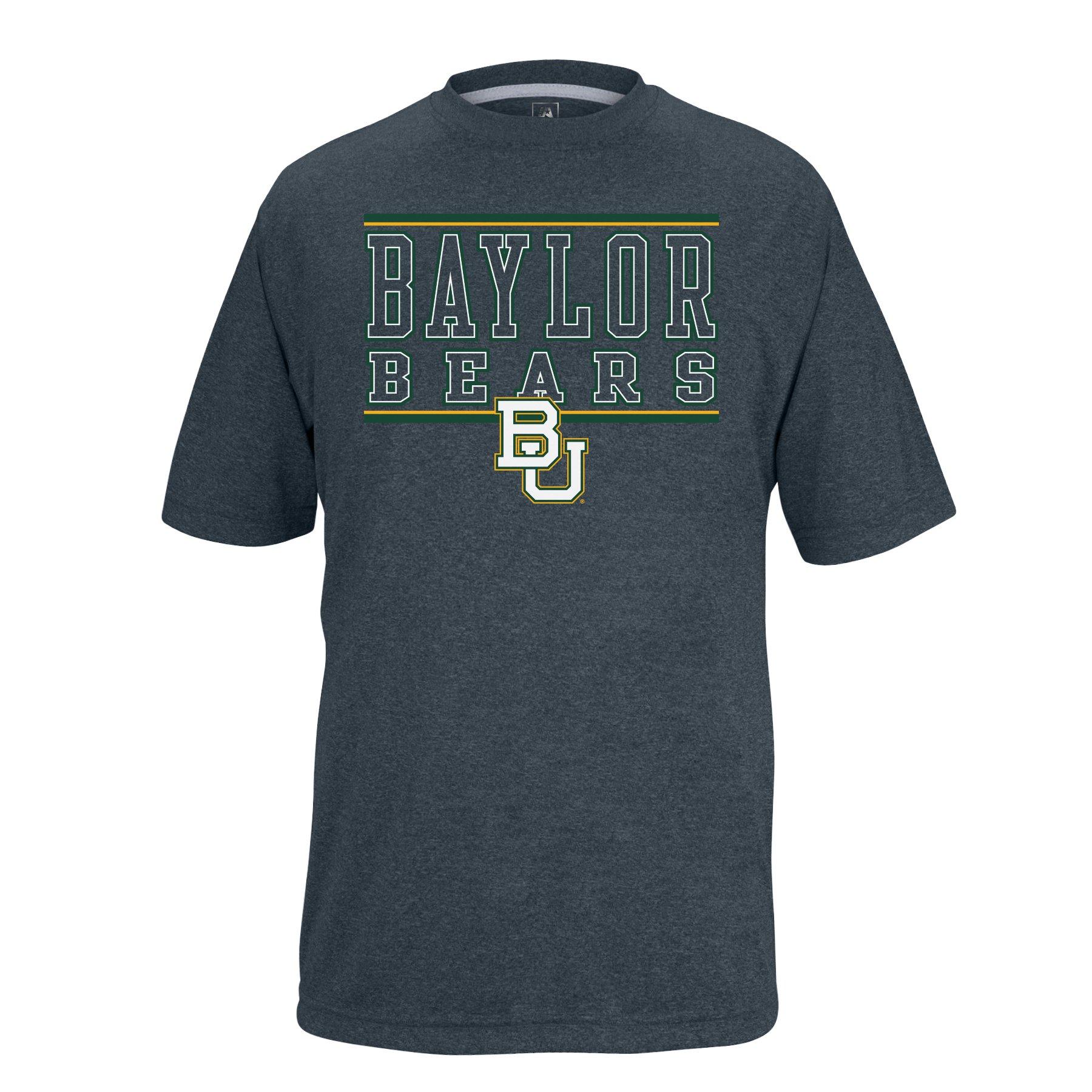 NCAA Baylor Bears Boys Youth Bar Design Vital Poly Tee, Charcoal Heather, Small