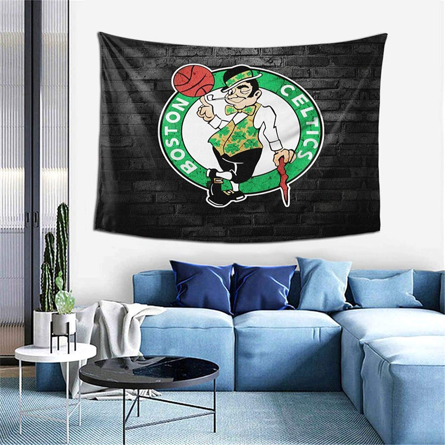Mabell Boston Basketball Sports Celtics Wall Hanging Tapestry, Sports Themed Party Decoration Boys Man Gifts Tapestries for Bedroom Living Room Dormitory One Size