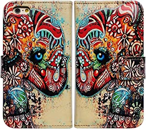 iPhone 6s Case,iPhone 6 Case, Bcov Brand Colorful Flower Floral Elephant Stand Wallet Leather Cover Case for 4.7 Apple iPhone 6 6s At&t Verizon Sprint