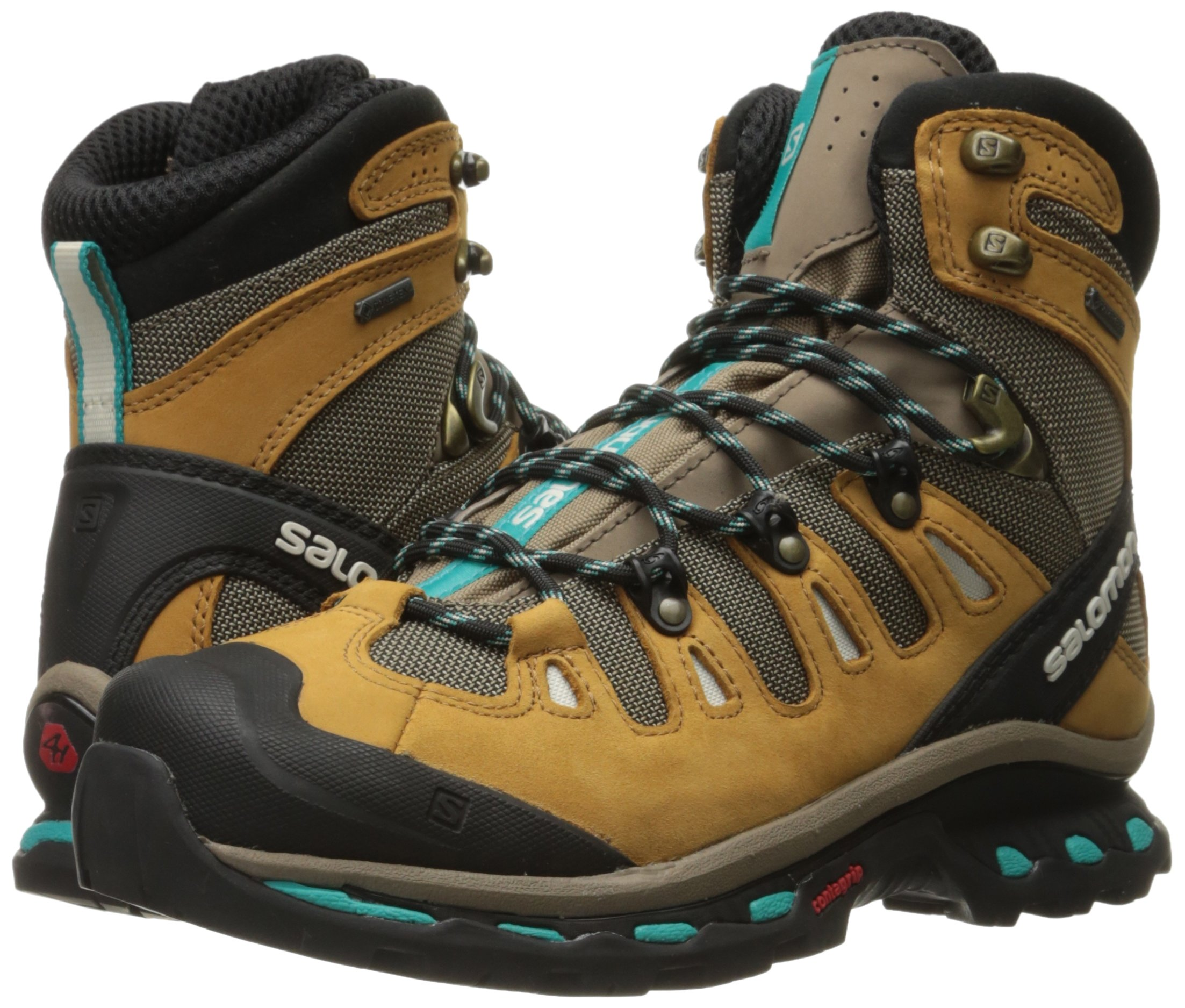 Salomon Women's Quest 4d 2 Gtx W Backpacking Boot, Shrew/Camel Gold Leather/Teal Blue Fabric, 8.5 M US by Salomon (Image #6)