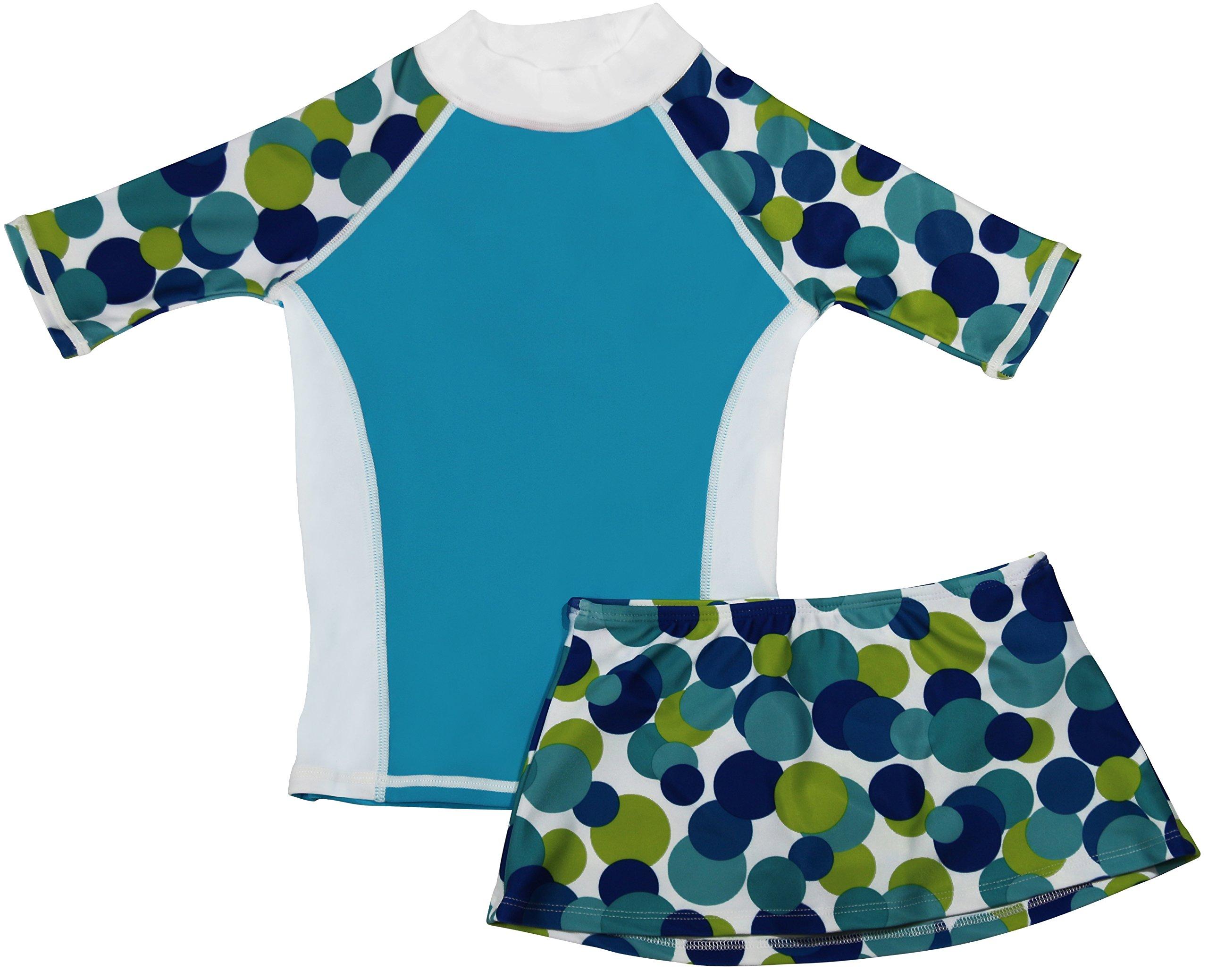 grUVywear Girls Short Sleeve UPF 50+ Rash Guard and Bikini Skirt Swimsuit Set - Love You Dots   9-10