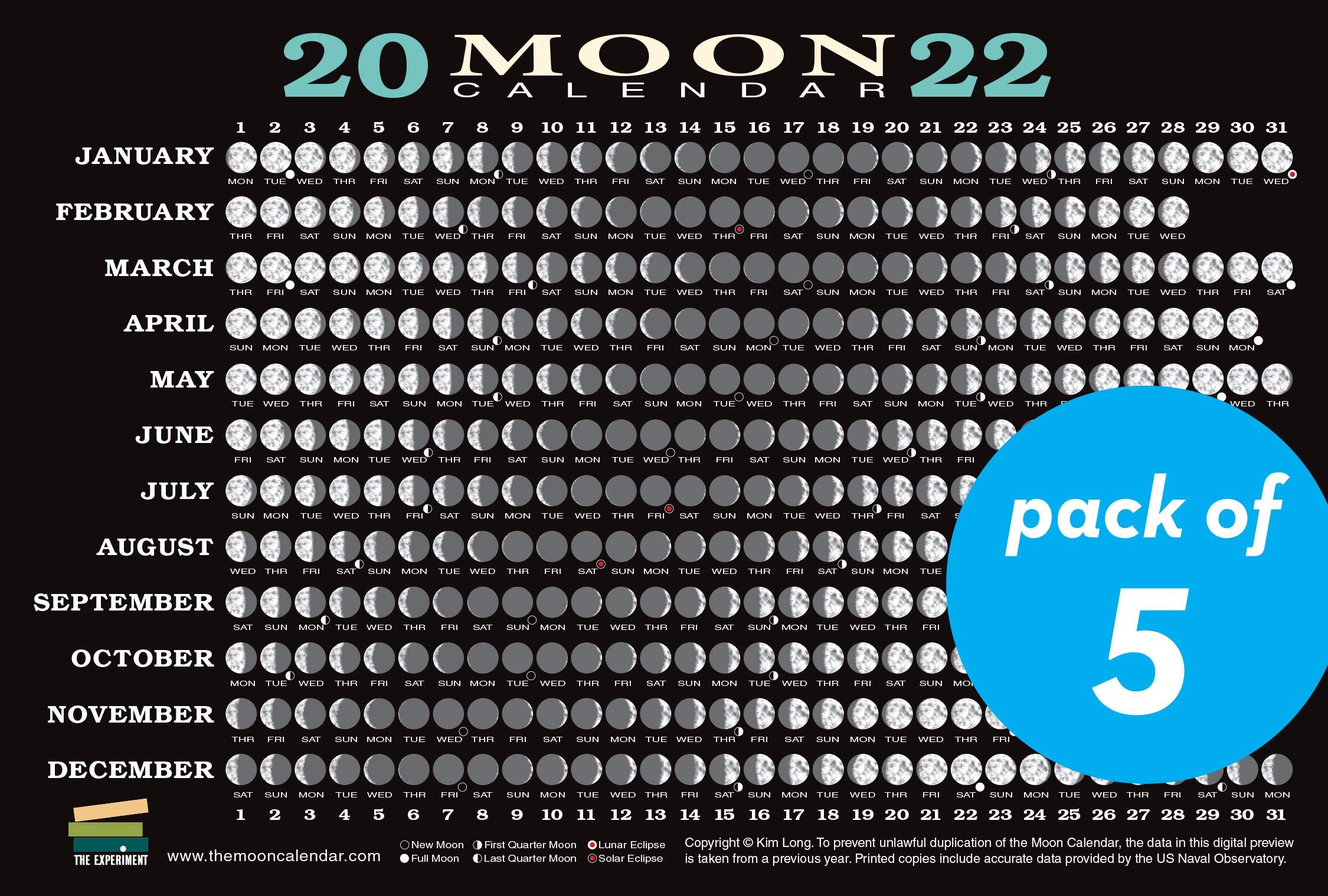 Moon Calendar February 2022.2022 Moon Calendar Card 5 Pack Lunar Phases Eclipses And More Long Kim 9781615197842 Amazon Com Books