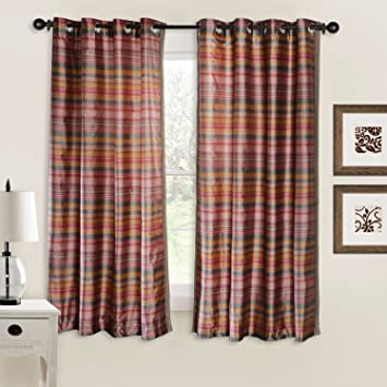 Deco Window Bijuri 2 Piece Polyester Window Curtain Set - 5 ft, Burn Rose Curtains at amazon