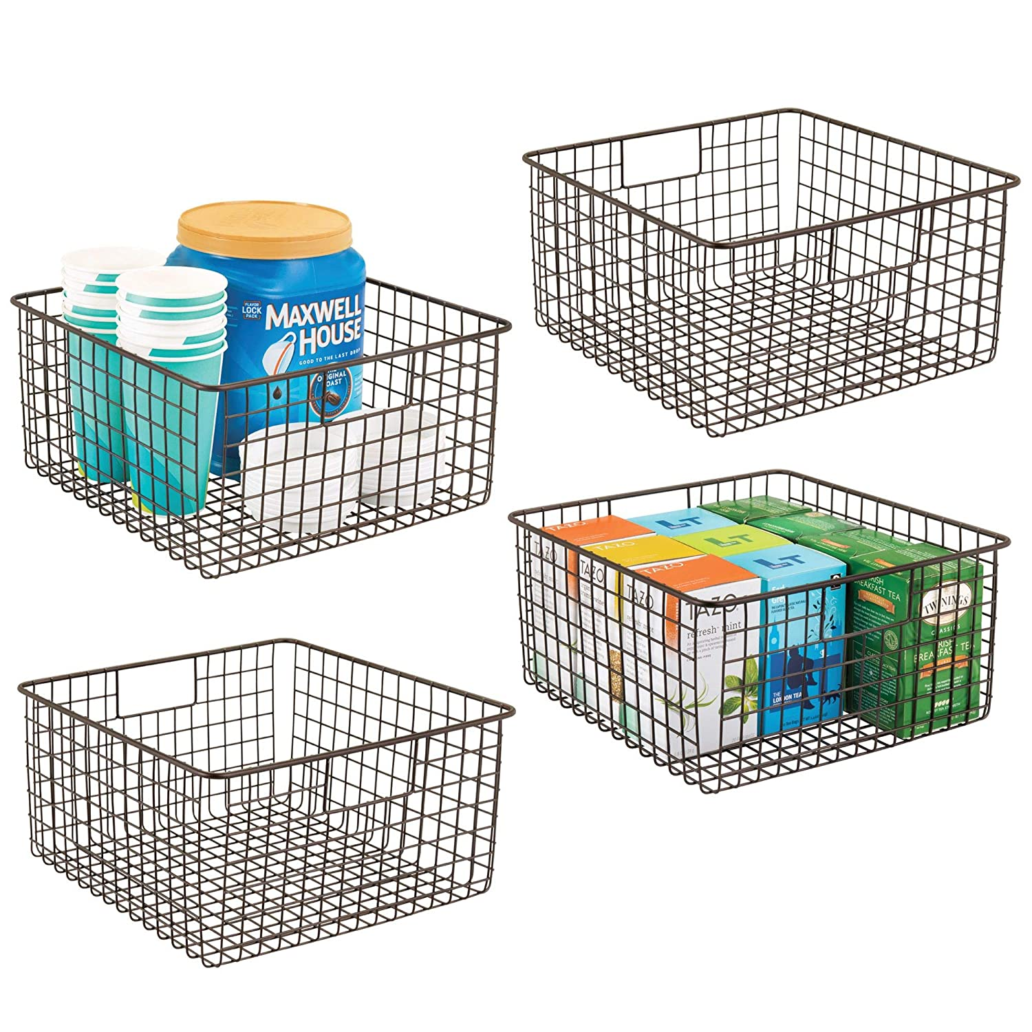 "mDesign Farmhouse Decor Metal Wire Food Storage Organizer, Bin Basket with Handles for Kitchen Cabinets, Pantry, Bathroom, Laundry Room, Closets, Garage - 12"" x 12"" x 6"" - 4 Pack - Bronze"