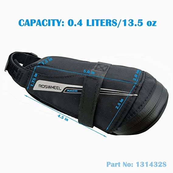 ae989f9a201 Amazon.com : Roswheel Race Series 131432 Ultralight Bike Saddle Bag Bicycle  Under Seat Pouch Cycling Wedge Pack for Road Bike, 0.4 Liter Capacity :  Sports & ...