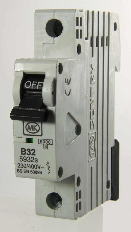 MK Electric Sentry 32A Single Pole Type B MCB Honeywell 5932S