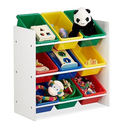 Relaxdays Kinderregal mit Regalboxen, Aufbewahrungsregal, es Spielzeugregal, MDF+Kunststoff, HxBxT 68x65x31cm Bunt