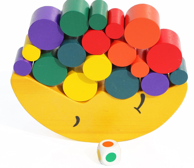 Toys of Wood Oxford Jouet d'équilibre en Bois de Lune - Jeu d'empilement pour Apprendre Les Couleurs, Le Tri et Le Comptage - Jeu d'équilibre en Bois pour Les Enfants