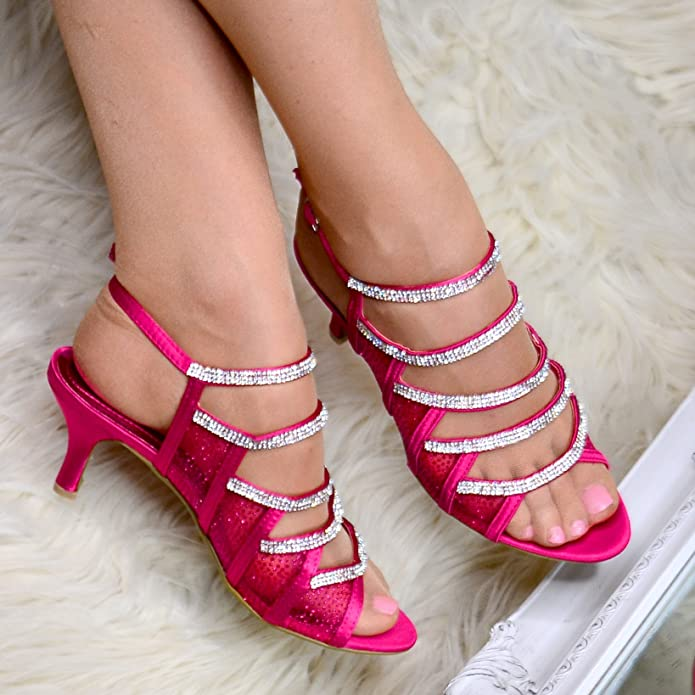 a50ce61c0b3 Ladies Fuchsia Pink Diamante Strappy Shoes Mid Low Heel Sandals Satin  Evening Slingback Size  Amazon.co.uk  Shoes   Bags