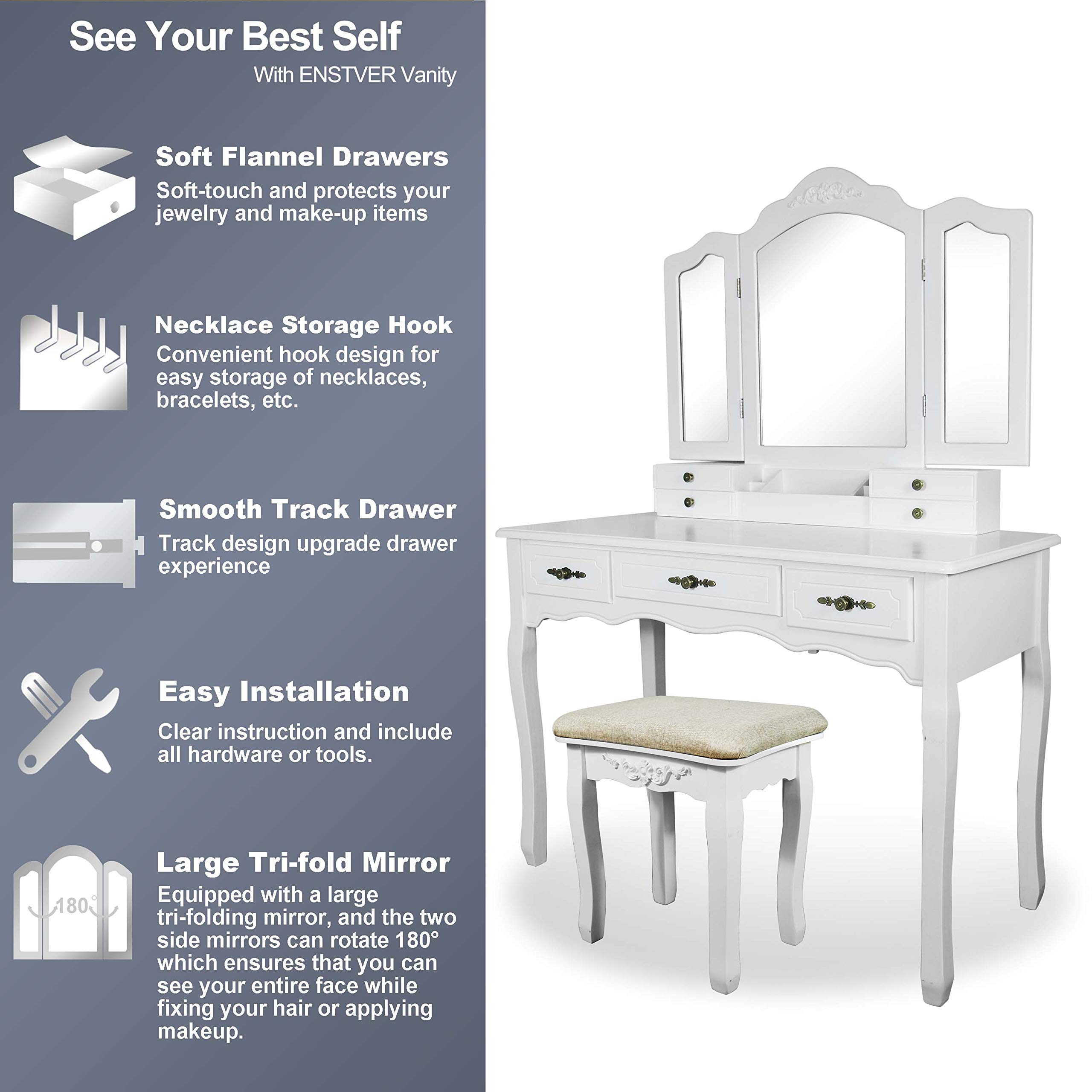 Vanity Beauty Station,Large Tri-Folding Necklace Hooked Mirrors,6 Organization 7 Drawers Makeup Dress Table with Cushioned Stool Set - White by ENSTVER (Image #3)