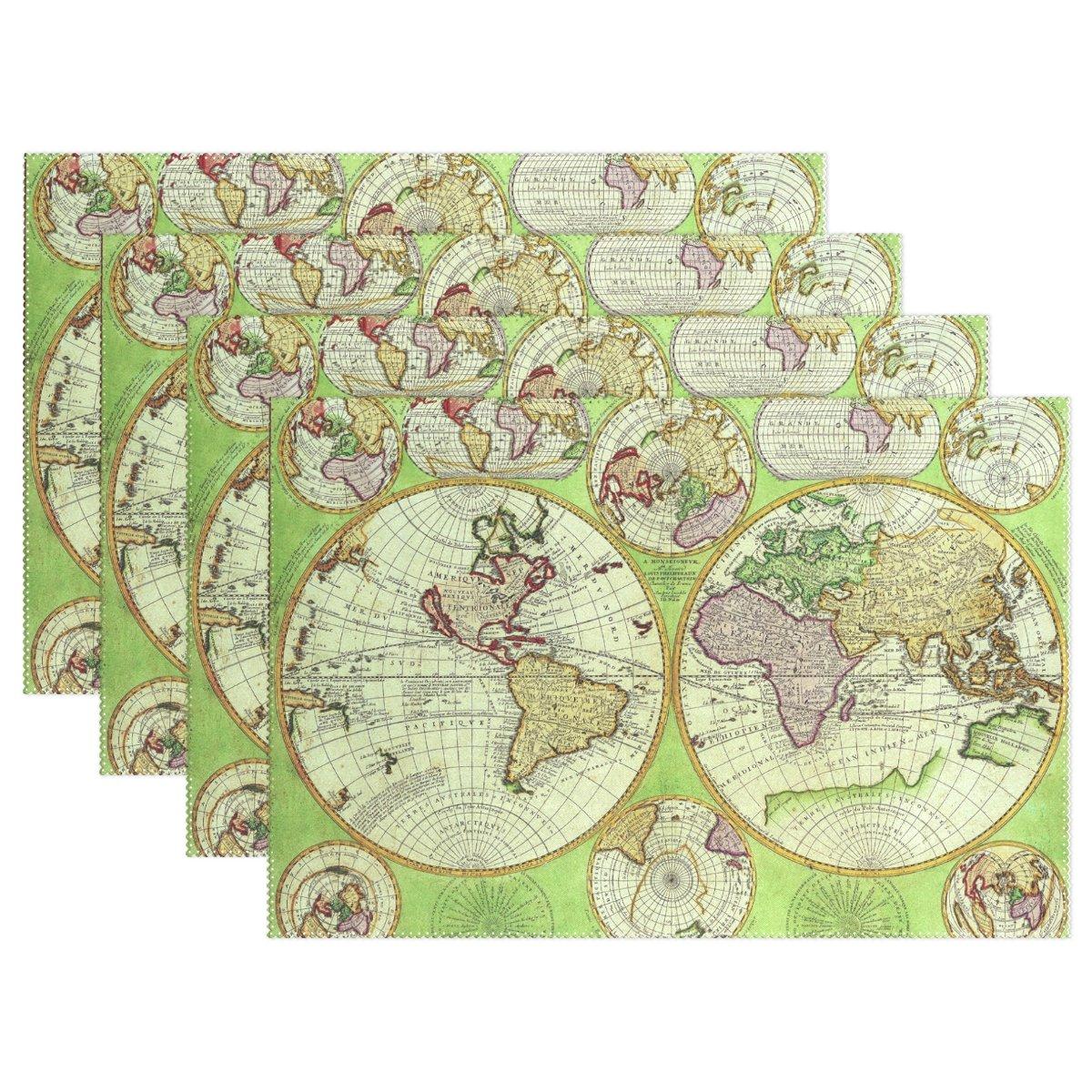 ヴィンテージOld World Mapプレースマットテーブルマット、12