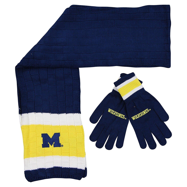 Michigan Wolverines Winter Scarf & Glove Set One Size OSFA - Maize & Blue