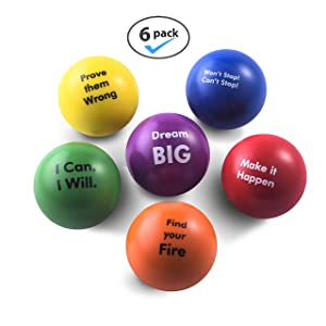Pure Origins | Motivational Stress Balls | Hand Exercise|Gift 6-Pack |Fidget Accessory for Stress Relief, Special Needs, Concentration, Anxiety, Motivation, ADHD, Autism and Team Building (Spirit)