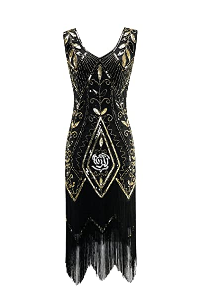 Metme Femmes années 1920 Vintage Flapper Fringe Perles Great Gatsby Party Robe