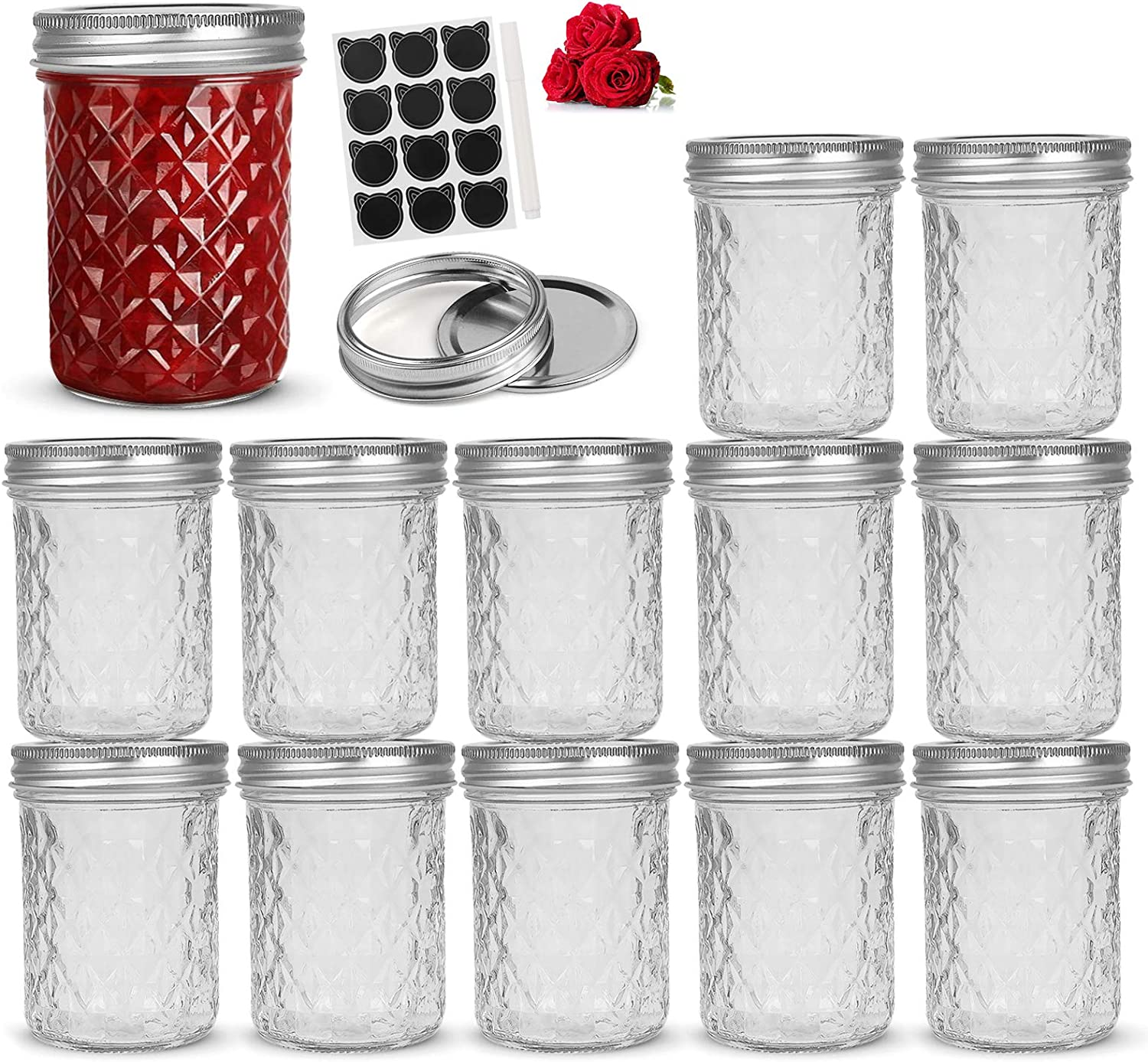 LovoIn 16oz Wide Mouth Mason Jars 12 PACK with Lids and Bands, Glass Canning Jars Ideal for Food Storage, Jam, Body Butters, Jelly, Wedding Favors, Baby Foods