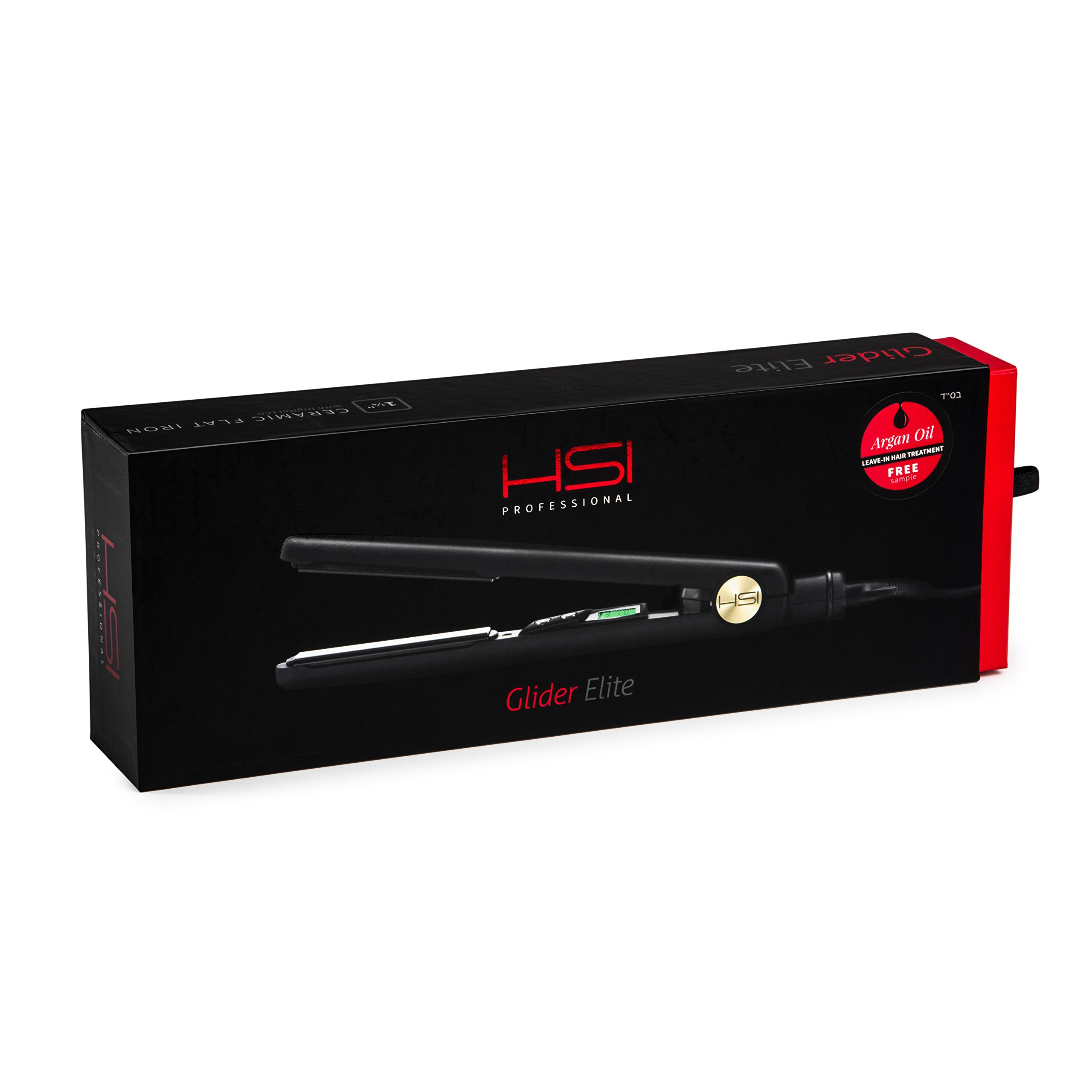 HSI Glider Elite Professional Flat Iron | For All Hair Types | For Faster, More Precise Styling | Ceramic Tourmaline Plates | Includes 1 Year Warranty, HSI Style Guide, & 5ml Argan Oil Treatment |