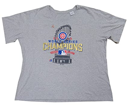 8e26944b VF Chicago Cubs MLB Womens Majestic 2016 World Series Champions Shirt Gray  Plus Sizes (2X