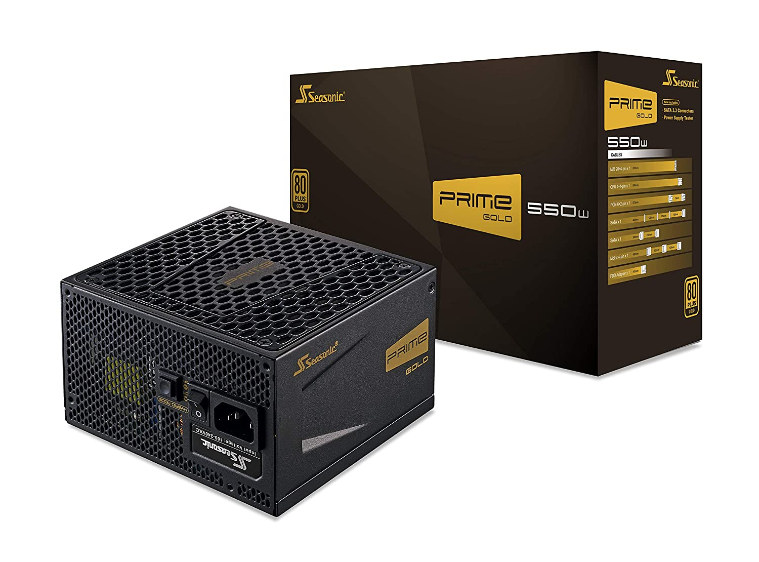 Seasonic PRIME 550 Gold SSR-550GD2 550W 80+ Gold ATX12V & EPS12V Full  Modular 135mm FDB Fan Power On Self Tester 12 Year Warranty Power Supply