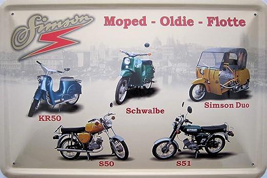 Vielesguenstig 2013 Blechschild 20x30cm Moped Oldie Flotte Simson Kr50 Duo S50 S51