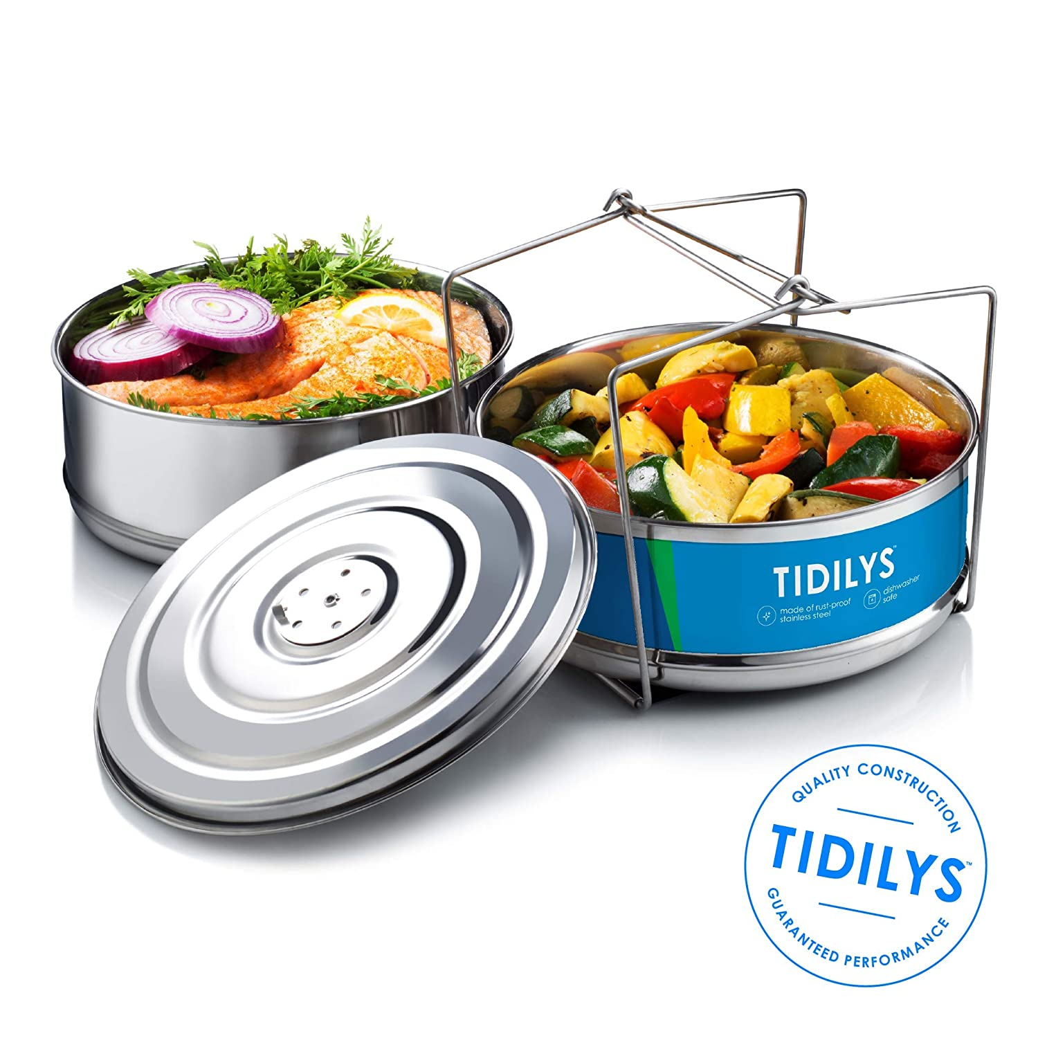 Tidilys High Pressure Cooker Steamer Basket with Lid Stackable Stainless-Steel Instant Pot Insert Steam Vegetables Meat Fish Rice Fits 5, 6, 8 Quart Pots Dual 2-Tier Container System