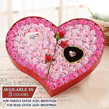 Amazon.com : Ginzick 92 Pcs Romantic Heart Flower Soap Roses with ...