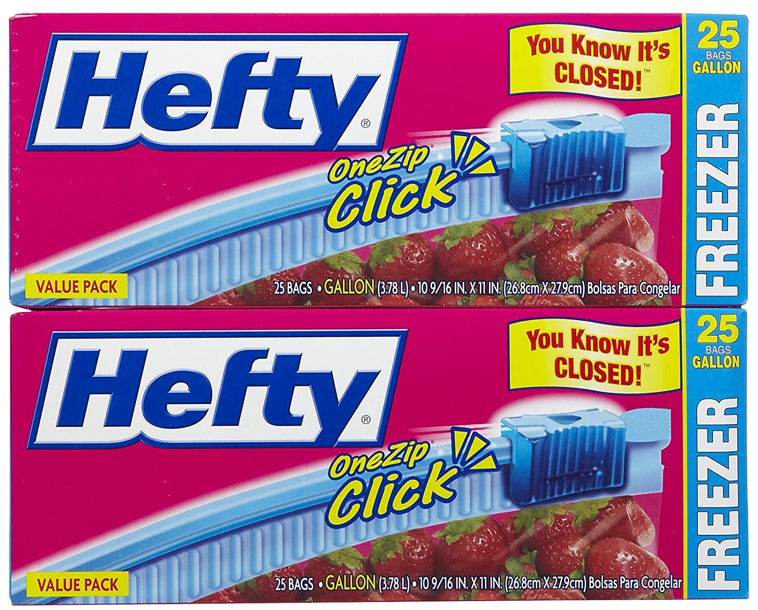 Hefty One Zip Freezer Bags - 1 gal - 25 ct - 2 pk