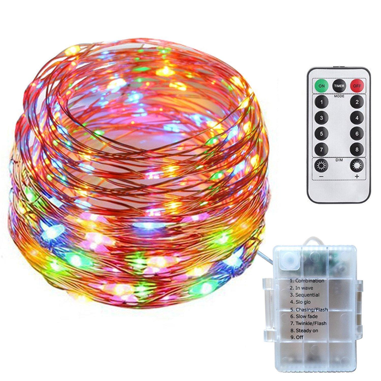10M 100 LEDs Catene luminose, SF 8 modalità IP67 Multicolore Luci Giardino con Filo Rame, Luci Decorative a batteria con telecomando impermeabile, per la casa, all'aperto, giardino, patio, matrimonio e festa di Natale all' aperto SiFar