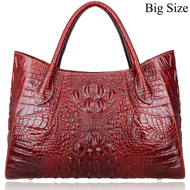 Pijushi Women Embossed Crocodile Handbag Designer Top Handle Handbags Holiday Gift 22198 (Red)