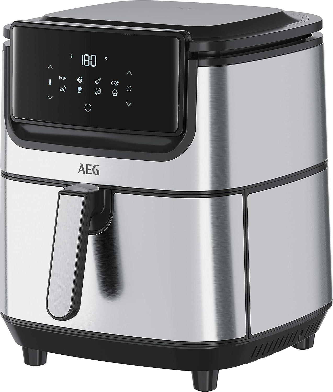 AEG AF6-1-6ST Freidora de aire sin aceite, capacidad 5.4 L, acero inoxidable, LED display táctil, 8 Programas, temperatura máxima 180º, temporizador 60 min, Apto lavavajillas, Inox: Amazon.es: Hogar