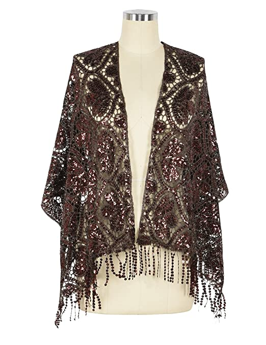 1920s Style Shawls, Wraps, Scarves Kayamiya Womens 1920s Scarf Sequin Deco Fringed Wedding Cape Evening Shawl �16.99 AT vintagedancer.com