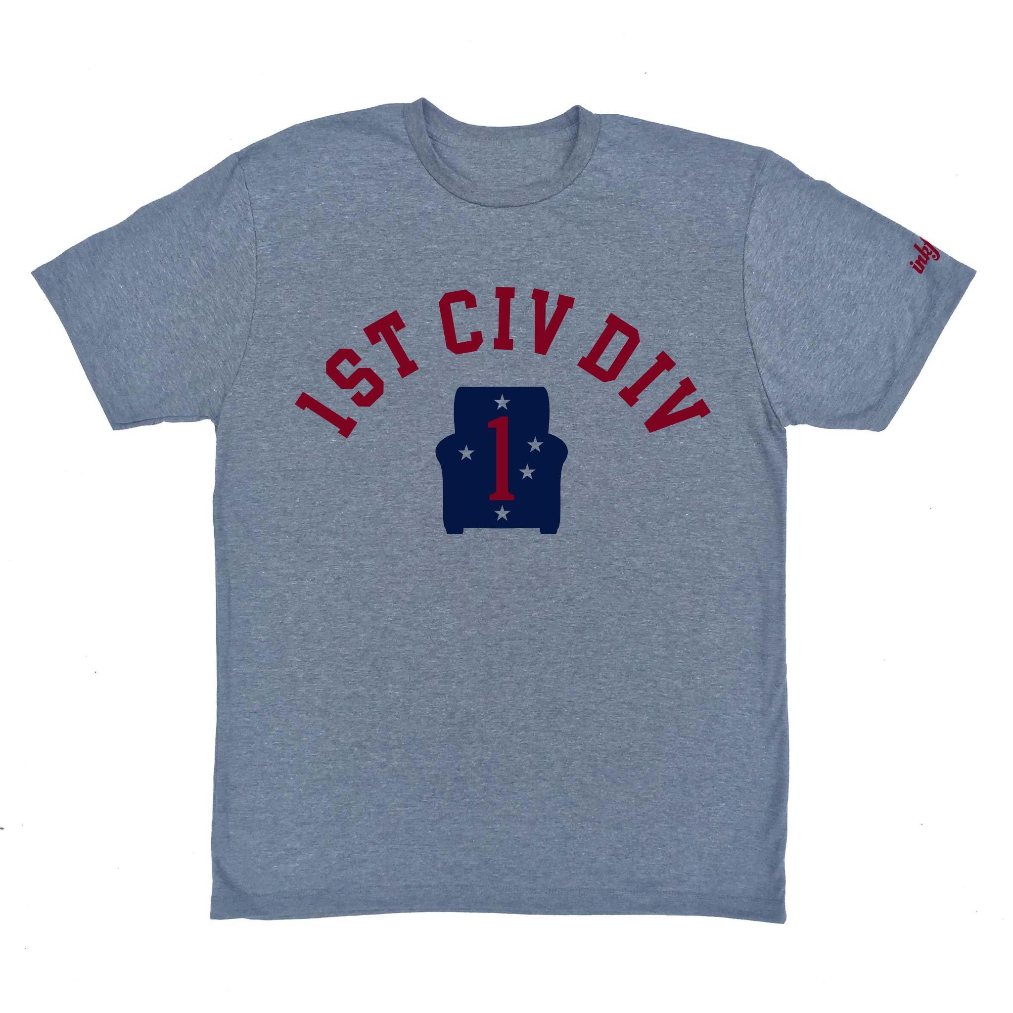 Inkfidel 1st Civ DIV T-Shirt - First Civilian Division Tee - Veteran Apparel - Athletic Grey Graphic T-Shirt - 50% Cotton/50% Polyester (Medium)
