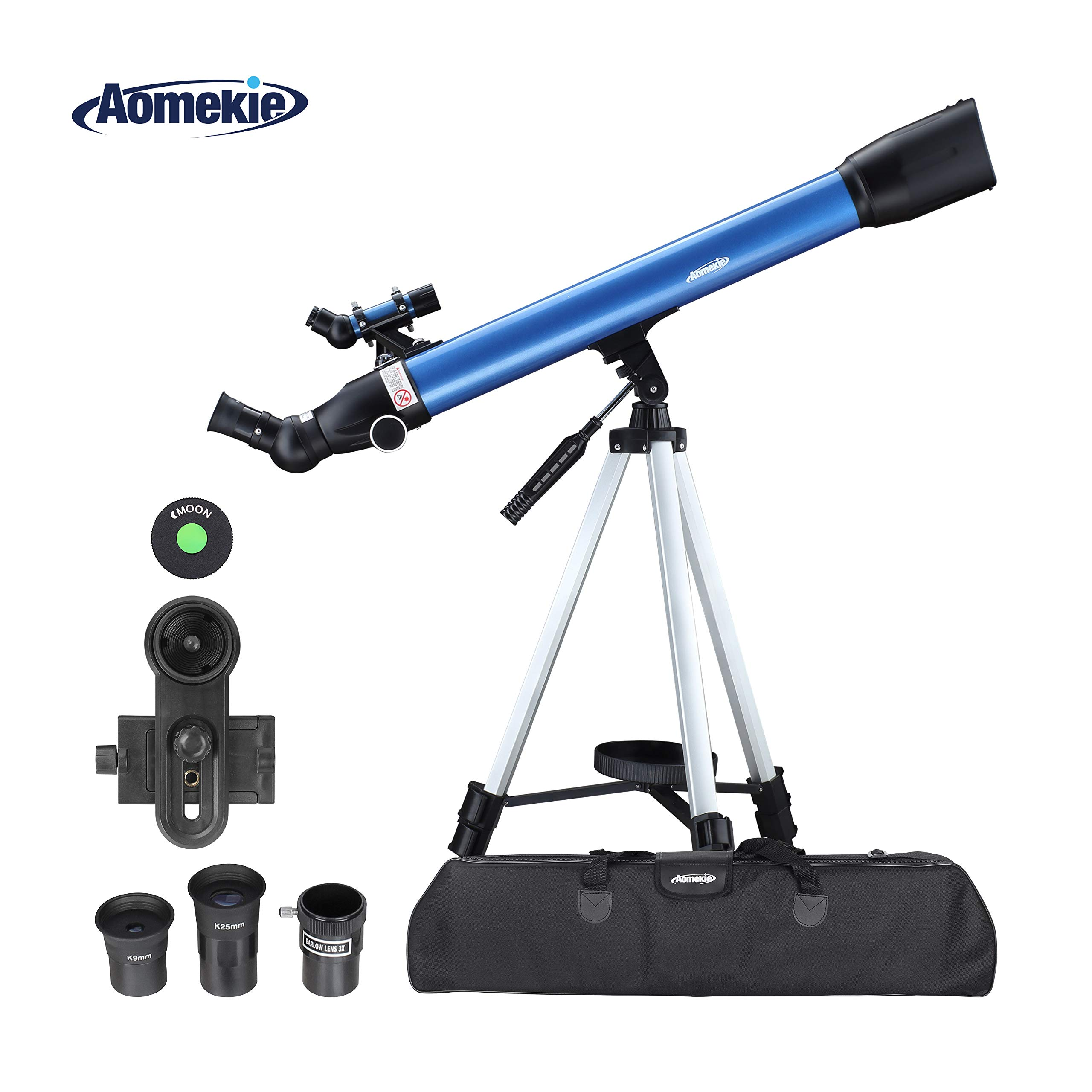 Aomekie Telescope for Adults Astronomy Beginners 700mm Focal Length 234X Magnification Travel Scope Refractor Telescopes with Adjustable Tripod 10X Phone Adapter Erect Finderscope and Carrying Bag by AOMEKIE